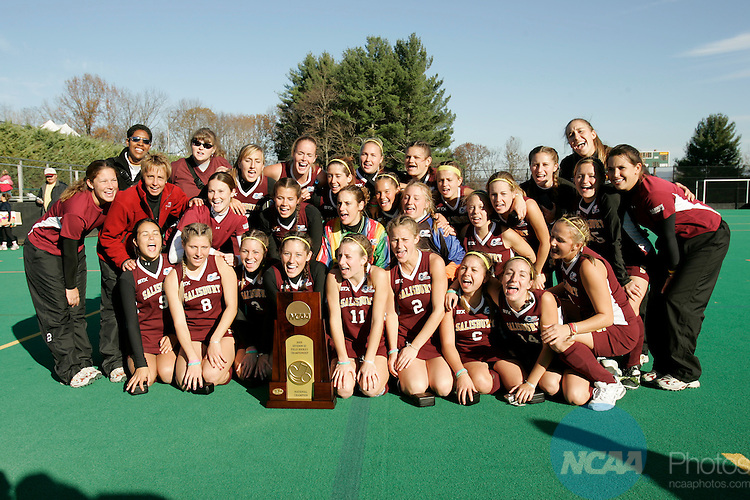 19 NOVEMBER 2005: The Salisbury University Field Hockey team poses with the National Championship trophy following the 2005 Division 3 Field Hockey Championship held at Liberty Hall Field on the campus of Washington and Lee University in Lexington, VA.  The Sea Gulls defeated Messiah 1-0 to take home their third consecutive title.  Trevor Brown, Jr./NCAA Photos
