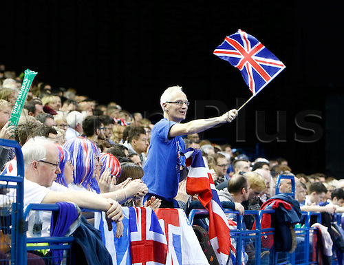 06.03.2016. Barclaycard Arena, Birmingham, England. Davis Cup Tennis World Group First Round. Great Britain versus Japan. British fans show their support before this afternoon's play.
