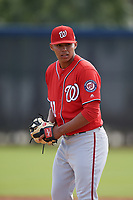 Washington Nationals pitcher Steven Fuentes (41) doing pitching drills before a Minor League Spring Training game against the Miami Marlins on March 28, 2018 at FITTEAM Ballpark of the Palm Beaches in West Palm Beach, Florida.  (Mike Janes/Four Seam Images)