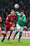 01.12.2018, Weserstadion, Bremen, GER, 1.FBL, Werder Bremen vs FC Bayern Muenchen<br /> <br /> DFL REGULATIONS PROHIBIT ANY USE OF PHOTOGRAPHS AS IMAGE SEQUENCES AND/OR QUASI-VIDEO.<br /> <br /> im Bild / picture shows<br /> Leon Goretzka (FC Bayern Muenchen #18) im Duell / im Zweikampf mit Claudio Pizarro (Werder Bremen #04), <br /> <br /> Foto &copy; nordphoto / Ewert