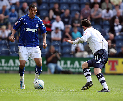 25.04.2011 Championship Football from Deepdale. Preston v Cardiff City. Jay Bothroyd is in possession of the football