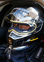 Feb 9, 2018; Pomona, CA, USA; NHRA top fuel driver Tony Schumacher during qualifying for the Winternationals at Auto Club Raceway at Pomona. Mandatory Credit: Mark J. Rebilas-USA TODAY Sports