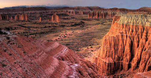 Cathedral Valley at sunset at Capital Reef National Park, Utah