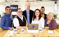 05 May 2019 - Prince William Duke of Cambridge meeting, from left, Mathew Kollamkulam, Michael Kitching, Jo Irwin, Amanda Brown-Bennet, and Caro Keith, who are Crisis Volunteers working with Shout, a free text messaging service which aims to provide 24/7 support for anyone experiencing mental health crisis. Photo Credit: ALPR/AdMedia