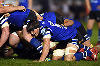 Josh Bayliss of Bath Rugby in action at a scrum. Gallagher Premiership match, between Bath Rugby and Exeter Chiefs on October 5, 2018 at the Recreation Ground in Bath, England. Photo by: Patrick Khachfe / Onside Images