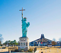 Statue of Liberty holding a cross and bible in Memphis, Tennessee
