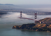 aerial photograph Golden Gate bridge, fog San Francisco, California