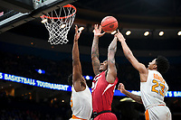 NWA Democrat-Gazette/CHARLIE KAIJO Arkansas Razorbacks forward Darious Hall (20) reaches for a layup as Tennessee Volunteers guard Jordan Bowden (23) and forward Admiral Schofield (5) cover during the Southeastern Conference Men's Basketball Tournament semifinals, Saturday, March 10, 2018 at Scottrade Center in St. Louis, Mo. The Tennessee Volunteers knocked off the Arkansas Razorbacks 84-66