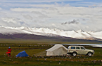 Morning snows above a camp at Namtso Lake, a sacred lake in central Tibet.  Namtso is the highest salt water lake in the world and is sacred to Tibetan buddhists.