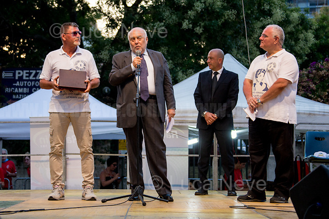 """Judge Leonardo Agueci - Antimafia Magistrate of the city of Palermo - http://bit.ly/2vaw4ZX .<br /> <br /> Palermo (Sicily - Italy), 19/07/2017. """"Basta depistaggi e omertà di Stato!"""" (""""Stop disinformation & omertá by the State!"""")(1). Public event to commemorate the 25th Anniversary of the assassination of the anti-mafia Magistrate Paolo Borsellino along with five of his police """"scorta"""" (Escorts from the special branch of the Italian police force who protect Judges): Agostino Catalano, Emanuela Loi (The first Italian female member of the police special branch and the first woman of this branch to be killed on duty), Vincenzo Li Muli, Walter Eddie Cosina and Claudio Traina. The event was held at Via D'Amelio, the road where Borsellino was killed. Family members of mafia victims, amongst others, made speeches about their dramatic experiences, mafia violence and unpunished crimes, State cover-ups, silence ('omertá'), and misinformation. Speakers included, amongst others, Vincenzo Agostino & Augusta Schiera, Salvatore & Cristina Catalano, Graziella Accetta, Massimo Sole, Paola Caccia, Luciano Traina, Angela Manca, Stefano Mormile, Ferdinando Imposimato, Judge Nino Di Matteo. The event ended with the screening of the RAI docu-fiction, 'Adesso Tocca A Me' ('Now it's My Turn' - Watch it here: http://bit.ly/2w3WJUX ).<br /> <br /> For more info & a video of the event please click here: http://bit.ly/2eQfNT3 & http://bit.ly/2eQbmrj & http://19luglio1992.com & http://bit.ly/2he8hCj<br /> <br /> (1) 'Omerta' is the term used in Italy to refer to the code of silence used by mafia organisations, as well as the culture of silence that is entrenched in society at large (especially among victims of mafia crimes, as they fear recriminations), about the existence of organised crime and its activities."""
