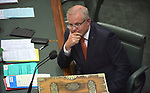 Scott Morrison, the Australian Prime Minister, sits at his desk in the House of Representatives Chamber at Parliament House, Canberra, Australia, on Wednesday, July 4, 2019. Photographer: Mark Graham/Bloomberg