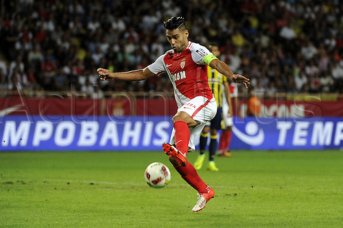 03.08.2016. Monaco, France. UEFA Champions league qualifying round, AS Monaco versus Fenerbahce.  Falcao (mon) drives forward with the ball