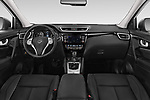 Stock photo of straight dashboard view of 2014 Nissan Qashqai Tekna 5 Door SUV