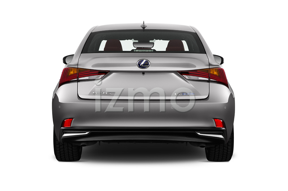 Straight rear view of 2017 Lexus IS F-Sport-Line 4 Door Sedan Rear View  stock images