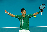 2nd February 2020; Melbourne Park, Melbourne, Victoria, Australia; Australian Open Tennis, Mens singles final on Day 14; Novak Djokovic of Serbia celebrates his win after his singles final match against Dominic Thiem of Austria