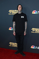 """LOS ANGELES - OCT 21:  Travis Barker at the """"America's Got Talent - The Champions"""" Season 2 Finale Guest Performers Photo Call at the Sheraton Pasadena Hotel on October 21, 2019 in Pasadena, CA"""
