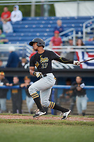 West Virginia Black Bears left fielder Sandy Santos (27) at bat during a game against the Batavia Muckdogs on June 26, 2017 at Dwyer Stadium in Batavia, New York.  Batavia defeated West Virginia 1-0 in ten innings.  (Mike Janes/Four Seam Images)