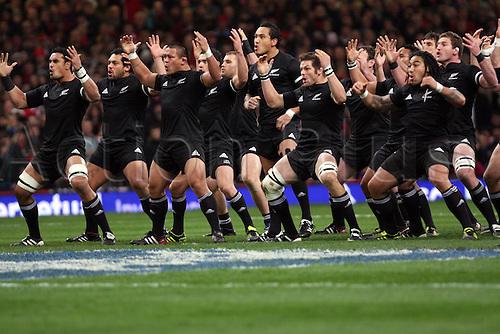 27.11.2010 International Rugby Union Wales v New Zealand. The Haka
