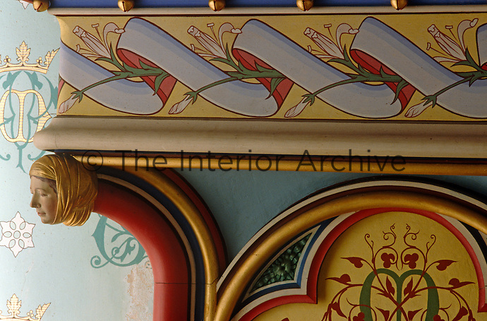 A detail of the 19th century neo-gothic hand-painted mantelpiece by Eugene Viollet-le-Duc