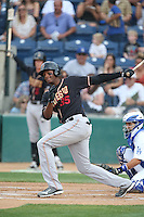 Correlle Prime (35) of the Modesto Nuts bats during a game against the Rancho Cucamonga Quakes at LoanMart Field on May 39, 2015 in Rancho Cucamonga, California. Rancho Cucamonga defeated Modesto, 13-2. (Larry Goren/Four Seam Images)