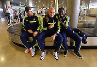 Wednesday 18 September 2013<br /> Pictured L-R: Ben Davies, Jonjo Shelvey and Nathan Dyer upon their arrival to Valencia Airport.<br /> Re: Swansea City FC players and staff travelling to Spain for their UEFA Europa League game against Valencia.