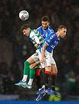 08.11.2019 League Cup Final, Rangers v Celtic: Mikey Johnston with Connor Goldson and Scott Arfield