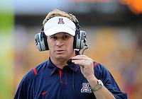 Nov. 28, 2009; Tempe, AZ, USA; Arizona Wildcats head coach Mike Stoops against the Arizona State Sun Devils at Sun Devil Stadium. Arizona defeated Arizona State 20-17. Mandatory Credit: Mark J. Rebilas-
