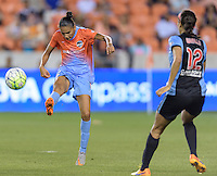 Houston Texas - Poliana (2) of the Houston Dash clears the from her side of the field in the second half against the Chicago Red Stars on Saturday, April 16, 2016 at BBVA Compass Stadium in Houston Texas.  The Houston Dash defeated the Chicago Red Stars 3-1.