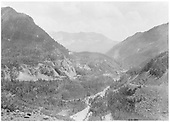 View of Butterfly area across to RGS High Line Bridges.  The Butterfly Mine and Mill can be seen beyond Bridge 44-A.<br /> RGS  Ophir Loop, CO