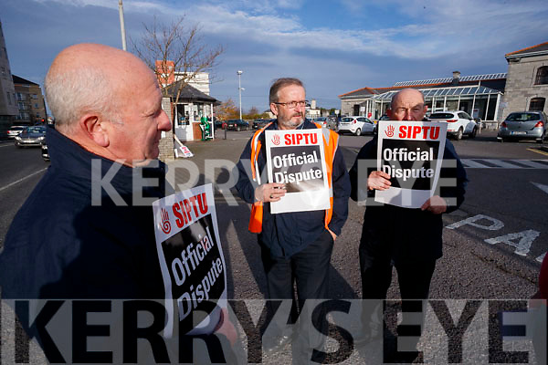 Tom O'Leary, Pat Conway and Billy Irwin, Irish Rail workers striking at Tralee Train Station on Wednesday.