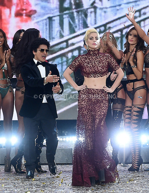 www.acepixs.com<br /> <br /> November 30 2016, New York City<br /> <br /> Bruno Mars and Lady Gaga on the runway during the Victoria's Secret Fashion Show on November 30, 2016 in Paris, France.<br /> <br /> By Line: Alain Benainous/ACE Pictures<br /> <br /> <br /> ACE Pictures Inc<br /> Tel: 6467670430<br /> Email: info@acepixs.com<br /> www.acepixs.com