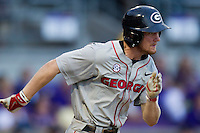 Georgia Bulldogs shortstop Nelson Ward #2 hustles down the first base line during the Southeastern Conference baseball game against the LSU Tigers on March 22, 2014 at Alex Box Stadium in Baton Rouge, La. The Tigers defeated the Bulldogs 2-1. (Andrew Woolley/Four Seam Images)