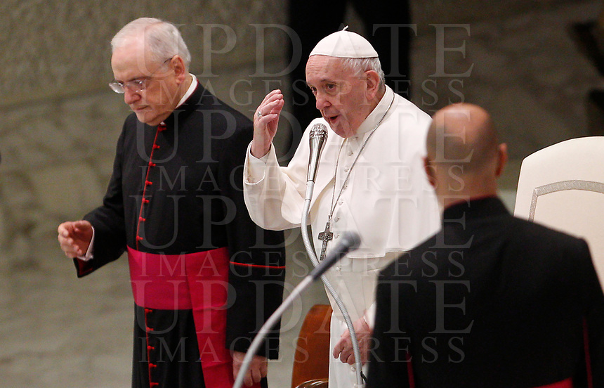 Pope Francis attends his weekly general audience in the Paul VI hall at the Vatican, January 22, 2020.<br /> <br /> UPDATE IMAGES PRESS/Riccardo De Luca<br /> <br /> STRICTLY ONLY FOR EDITORIAL USE