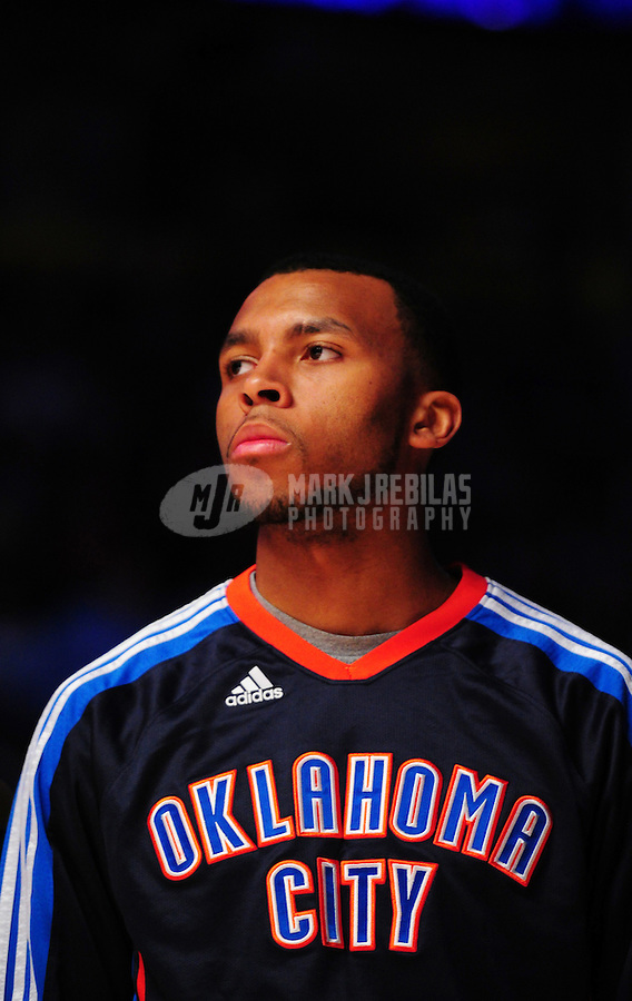 Mar. 30, 2011; Phoenix, AZ, USA; Oklahoma City Thunder guard (14) Daequan Cook against the Phoenix Suns at the US Airways Center. Mandatory Credit: Mark J. Rebilas-