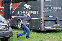 Limbering up for the runway this afternoon with a bit of frisbee in the Lorry Park:  shows his coordination: 2016 Mondial du Lion FEI World Breeding Eventing Championships for Young Horses. Wednesday 19 October. Copyright Photo: Libby Law Photography