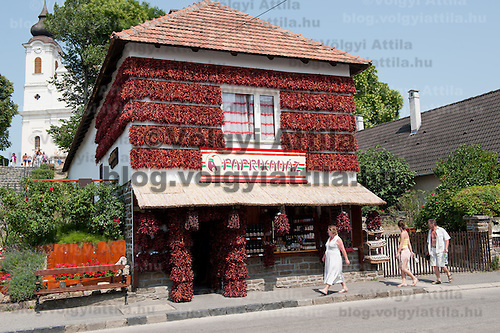 Paprika House is a building decorated with paprika a kind of pepper bound to Hungary's folk traditions housing a shop for tourist souvenirs in Tihany, Hungary on July 14, 2011. ATTILA VOLGYI