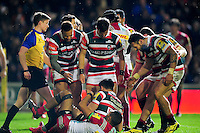 Leicester Tigers players congratulate team-mate Owen Williams on his second half try. Aviva Premiership match, between Leicester Tigers and Harlequins on November 20, 2016 at Welford Road in Leicester, England. Photo by: Patrick Khachfe / JMP