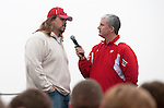 "Matt Lepay, right, interview former Badger Mark Tauscher during the Wisconsin Badgers ""Party at the Pier"" in Santa Monica, California on December 31, 2011. (Photo by David Stluka)"