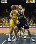 02.06.2019, EWE Arena, Oldenburg, GER, easy Credit-BBL, Playoffs, HF Spiel 1, EWE Baskets Oldenburg vs ALBA Berlin, im Bild<br /> Nathan BOOTHE (EWE Baskets Oldenburg #45 )  <br /> Niels GIFFEY (ALBA Berlin #5 )<br /> Foto © nordphoto / Rojahn