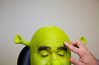 NEW YORK - NOV 3:Brian d'Arcy James, who plays Shrek, receives his Shrek make-up prior to a rehearsal of Shrek, The Musical, at The Broadway Theater, on Monday,<br /> November 3, 2008, in New York City. To turn the actor into Shrek takes over an hour and a half and includes prosthetic ears, hands, and lots and lots of green make up. Those are d'Arcy James' real eyebrows though. (Photo by Landon Nordeman)