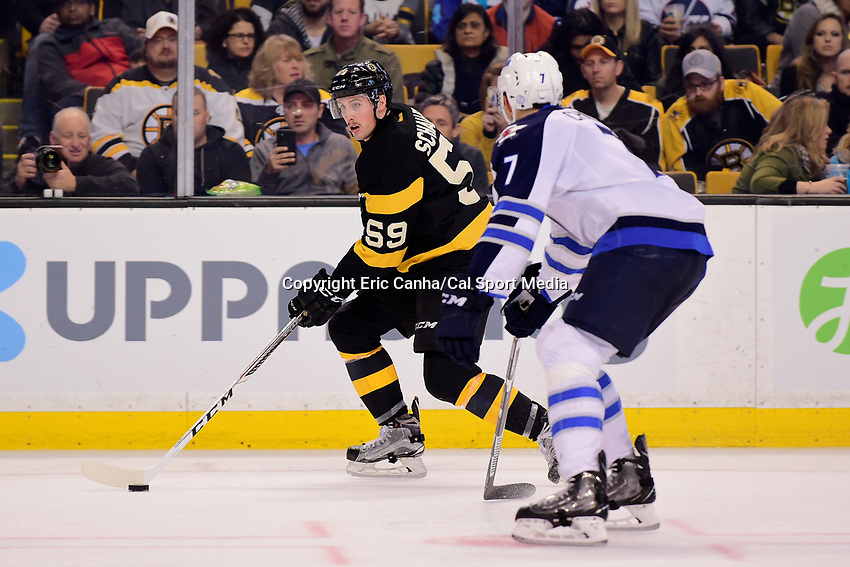 during the National Hockey League game between the Winnipeg Jets and the Boston Bruins held at TD Garden, in Boston, Mass. Boston defeats Winnipeg 4-1.  Eric Canha/CSM