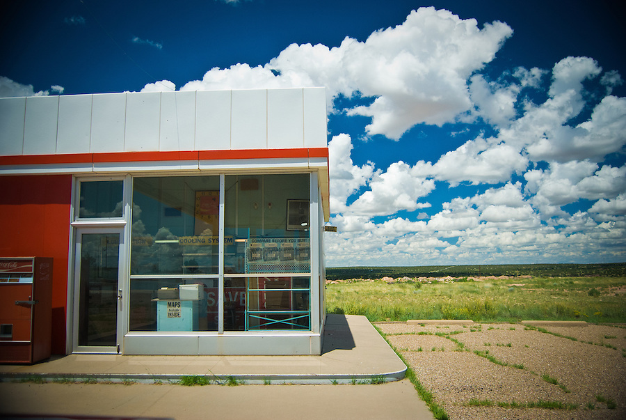 Old Enco gas station along historic highway Route 66 in Santa Rosa, New Mexico, USA.