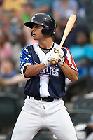 Shortstop Andres Gimenez (13) of the Columbia Fireflies bats in a game against the Rome Braves on Monday, July 3, 2017, at Spirit Communications Park in Columbia, South Carolina. Columbia won, 1-0. (Tom Priddy/Four Seam Images)