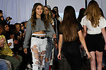 Child models walk runway in outfits from the Izzy Be Boutique Clothing Line by Isabella Brown, during the KidFash Magazine runway show in Brooklyn, New York on Nov 4, 2017.