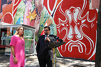 Montreal Mayor  Denis Coderre attend the unveiling of  MU Mural by Gene Pendon and Bryan Beyung in Chinatown, August 2015.<br /> <br /> Photo : Pierre Roussel - Agence Quebec Presse