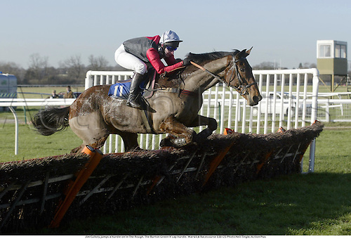 Jim Culloty jumps a hurdle on In The Rough. The Burton Green H'cap hurdle. Warwick Racecourse 030123 Photo:Neil Tingle/Action Plus...2003.Horse Racing horses.national hunt hurdles