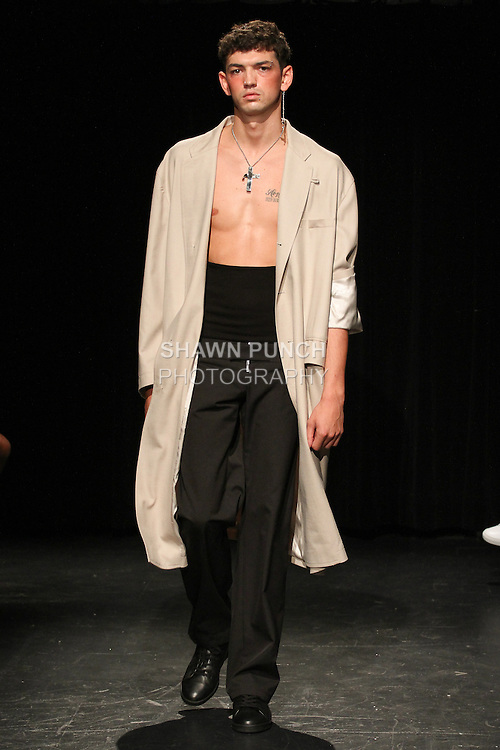 Model Archie walks runway in an outfit from the Linder Spring Summer 2017 collection by Sam Linder and Kirk Millar on July 11 2016, during New York Fashion Week Men's Spring Summer 2017.