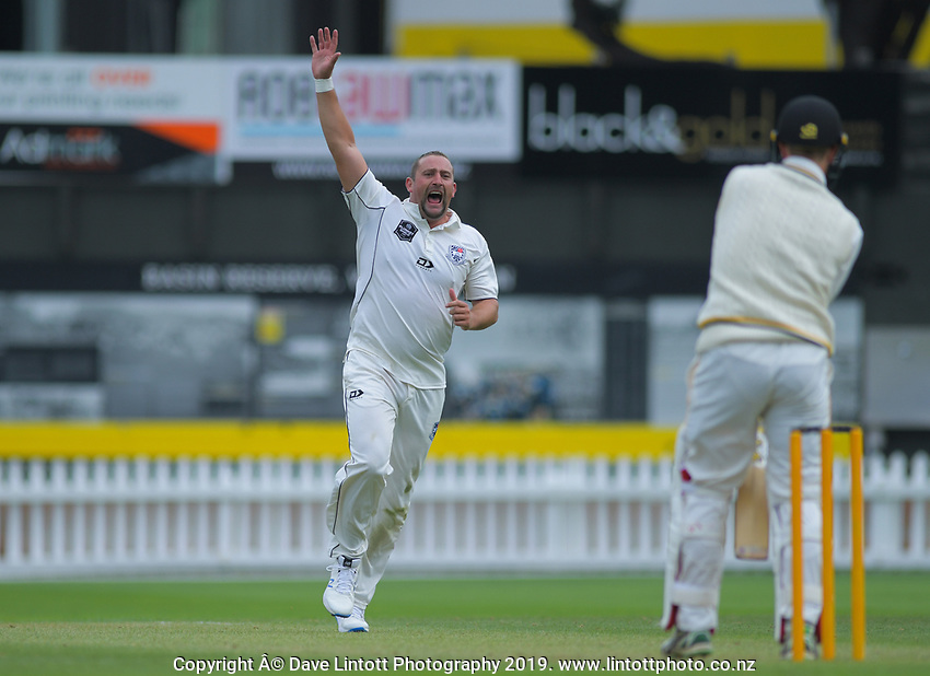 Auckland's Matt McEwen appeals during day two of the Plunket Shield cricket match between the Wellington Firebirds and Auckland at Basin Reserve in Wellington, New Zealand on Saturday, 9 November 2019. Photo: Dave Lintott / lintottphoto.co.nz