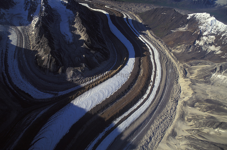 Aerial view over Kahiltna Glaciar, Denali National Park