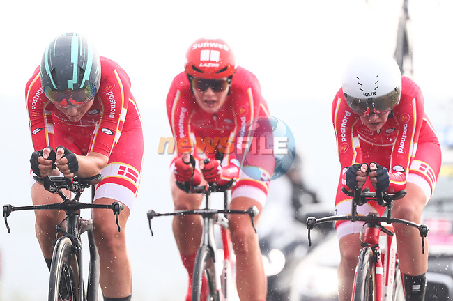 Denmark in action during the Team Time Trial Mixed Relay in Harrogate of the UCI World Championships 2019 running from Harrogate to Harrogate, England. 22nd September 2019.<br /> Picture: Alex Whitehead/SWPix.com | Cyclefile<br /> <br /> All photos usage must carry mandatory copyright credit (© Cyclefile | Alex Whitehead/SWPix.com)